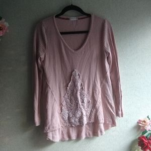 Altar'd State Pink Lace Ribbed Long Sleeve Shirt